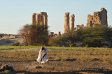 Nubian farmer at work next to the Temple of Soleb