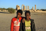 Nubian boys in front of the Temple of Soleb