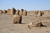 Cemetery with interesting mudbrick monuments, Upper Nubia