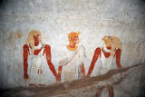 Queen Qalhata flanked by two gods, Amseti and Qebehsenuef, sons of Horus