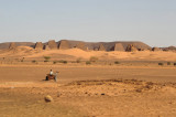 Our first view of the famous Pyramids of Meroë seen from the main Atbara-Khartoum road