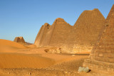 Looking north from Pyramid 8 to Pyramids 9-13 with 14 alone at the end - Beg. N10 has been totally destroyed