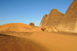 Looking north from Pyramid 9 to Pyramids 11-13 with 14 alone at the end. Beg. N10 has been destroyed