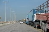 Truck jam on the King Fahd Causeway, Bahrain