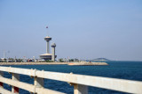 Lookout towers on the Bahraini side of the King Fahd Causeway island