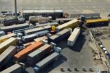9 lanes of trucks funneling down to 1 lane to cross into Saudi Arabia