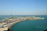 The Saudi Arabian side of the King Fahd Causeway seen from the Bahraini observation tower looking west