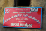 Communists in Nepal with Marx, Engels, Lenin, Stalin, Mao and someone washed out in red