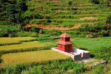 A small red temple among the fields 3 km west of Dolaghat on the Araniko Highway
