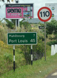 Road sign for Port Louis - 45km