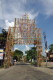 Bamboo frame over the road in preparation for a festival