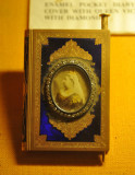Enamel pocket diary with Queen Victoria surrounded by diamonds