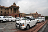 Government of India vehicles in front of the Ministries Secretariat - North Block