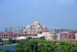 The nearby overpass offers a good view of the temple complex at Akshardham