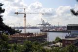 Construction along the Elbe with the Port of Hamburg, Altona
