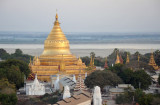 Amazing view of the golden pagoda of Shwezigon from the balloon