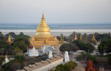 Aerial view of Shwezigon Paya with the Irrawaddy River in the background