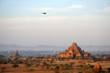 A military helicopter patrolling over Bagan - apparently General Than Shwe was in town