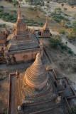 Flying over a stupa, Bagan