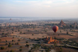 Balloons Over Bagan - view north with the golden stupa of Shwezigon marking our starting point