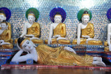 Reclining Buddha and seated Buddha images, Shwedagon Paya
