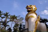 Giant Burmese lion, Chinthe, guarding the entrance to Ngahtatgyi Paya