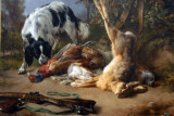 Spaniel with a Still Life of Dead Game, 1837, Jacques-Raymond Brascassat (1804-1867)