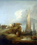 Coastal Scene with Shipping and Cattle ca 1781, Thomas Gainsborough (1727-1788)
