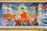 Modern mural of the Buddha, Sagaing Hills pagoda - N21 54.3/E095 59.7