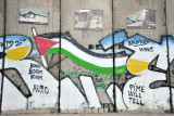 West Bank Separation Wall graffiti - Palestinian flag, Time will tell