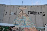 West Bank Separation Wall graffiti - I love tourists, Bethlehem checkpoint