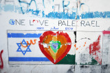 West Bank Separation Wall graffiti - One Love Palesrael