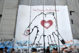 West Bank Separation Wall graffiti - Five Fingers of the Same Hand