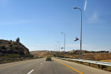 Israeli flags along Highway 60 between Hebron and the Israeli border at Be'er Sheva