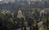 Russian Church of Mary Magdalene, Mount of Olives, seen from Temple Mount