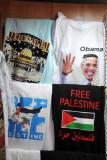Obama in a kaffiyeh and Free Palestine t-shirts