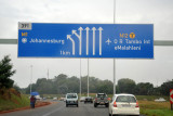 Fork for central Johannesburg and the ring motorway for O.R. Tambo Airport