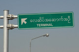 Road sign for the terminal of Mandalay International Airport