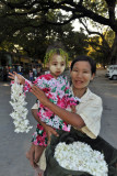 Flower seller with her cute daughter, Mandalay