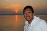 Dennis with sunrise on the Irrawaddy River