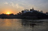 Sunrise with the east bank temple at the New Sagaing Bridge