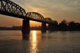 Ava Bridge at sunrise, Irrawaddy River