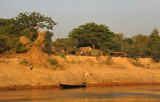 Banks of the river in the dry season as we pass a village
