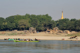 Ywathitgyi, a riverside village with a golden stupa 2 hrs 15 min downstream from Mandalay