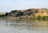 Left bank cliffs on the Irrawaddy River in range of Bagan