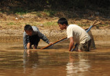 Boys fishing for something in the Nan Chaung Canal, Nyaung Shwe