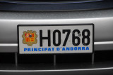 License plate - Principality of Andorra