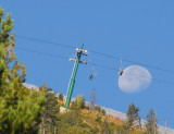 Ski lift with near-full moon, Vallnord-Arinsal, Andorra