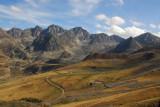 Grandvalira ski region, Pas de la Casa ski area with the French Pyrenees to the east