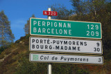 Roadsign in French for Barcelona (Barcelone)